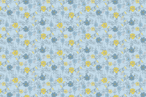 blooming blue tea towel fabric by brandbird on Spoonflower - custom fabric