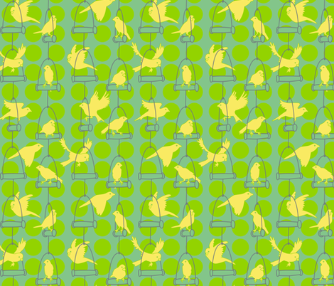 Swinging Canaries fabric by elainethebrain on Spoonflower - custom fabric