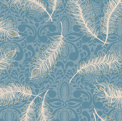 Paisley Feather Medallion Print Blues fabric by modernprintcraft on Spoonflower - custom fabric