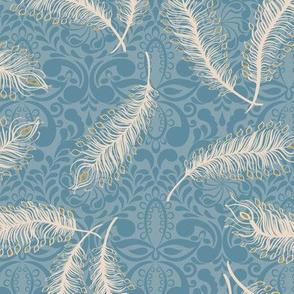 Paisley Feather Medallion Print Blues