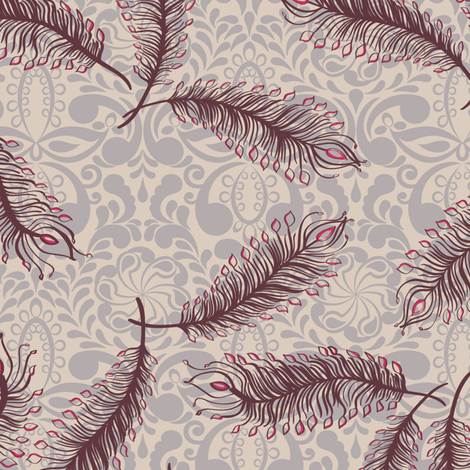 Paisley Feather Medallion Natural fabric by modernprintcraft on Spoonflower - custom fabric