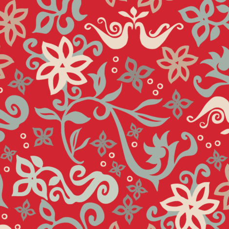 Folk Fusion red fabric by modernprintcraft on Spoonflower - custom fabric