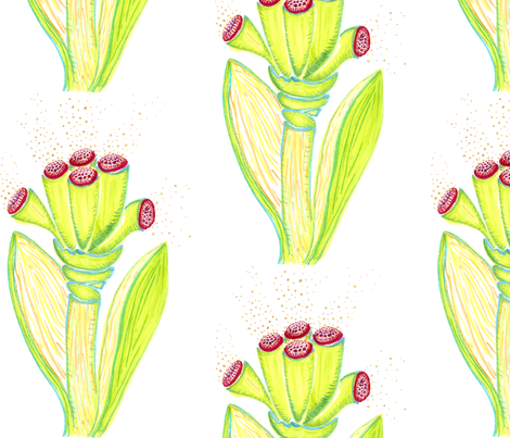 fantasy_flower--greeen fabric by kcs on Spoonflower - custom fabric