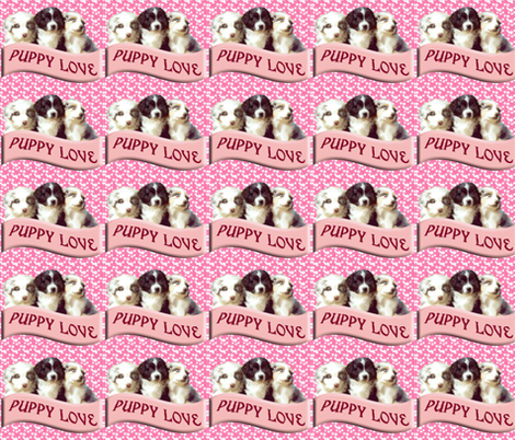 Australian shepherd puppy love fabric by dogdaze_ on Spoonflower - custom fabric
