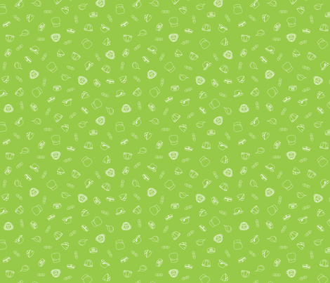 Hero Hats and Masks Scatter - power-up green fabric by hootenannit on Spoonflower - custom fabric