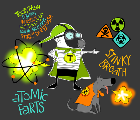 Tootyman Atomic Farts fabric by bzbdesigner on Spoonflower - custom fabric