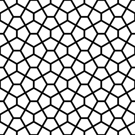 S43XCi pentagon : black and white fabric by sef on Spoonflower - custom fabric