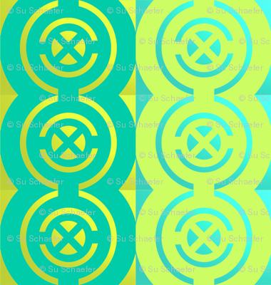 Gold quadrants on jade + acid green by Su_G