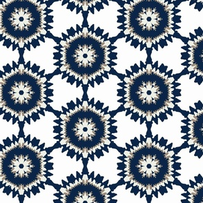 Blue & Tan Modern Ikat