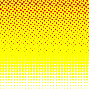CMYK halftone gradient - red/yellow/white