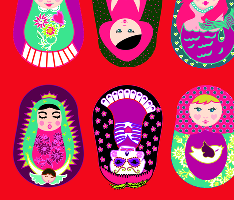 Merry Red Classic Gurushkas fabric by gurumania on Spoonflower - custom fabric