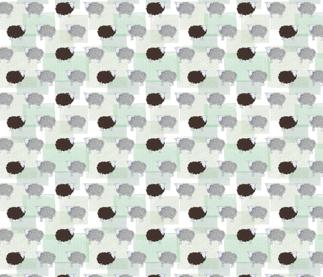 little sheep, handmade with cloth & paper fabric by dieuwertje on Spoonflower - custom fabric