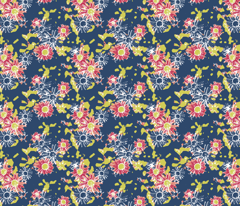 Lazy Summer Daisy on Blue fabric by inscribed_here on Spoonflower - custom fabric