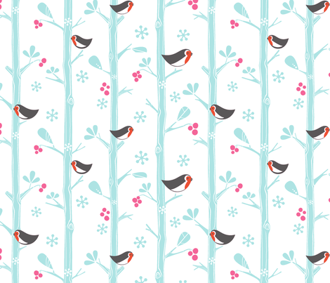 Snow birds fabric by pattern_bakery on Spoonflower - custom fabric