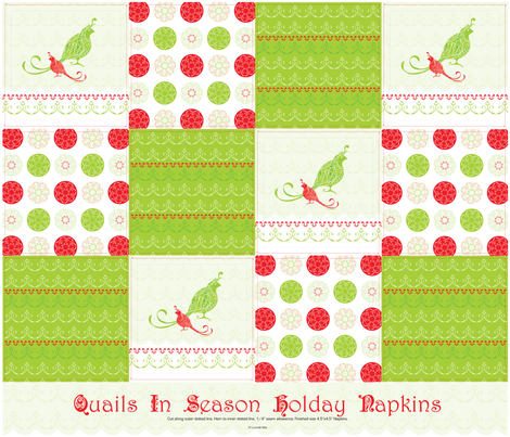 Quails in Season - Twelve Holiday Cocktail Napkins fabric by lucindawei on Spoonflower - custom fabric