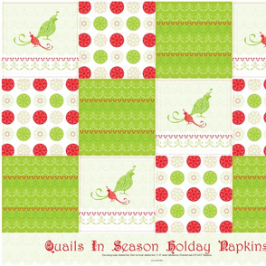 Quails in Season - Twelve Holiday Cocktail Napkins