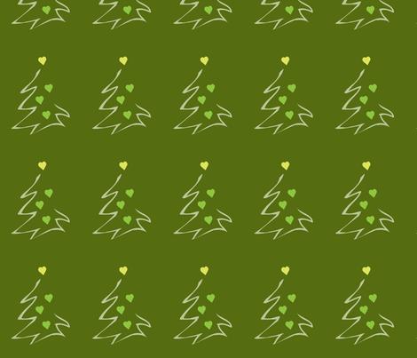 HeartXmas1-green fabric by msnina on Spoonflower - custom fabric