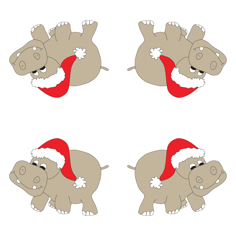 Christmas Hippo wallpaper - coveredbydesign - Spoonflower