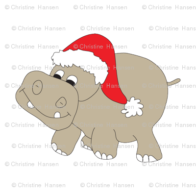 Christmas Hippo fabric - coveredbydesign - Spoonflower