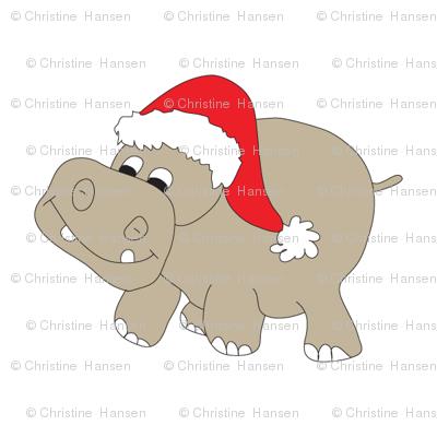 Christmas Hippo White Background