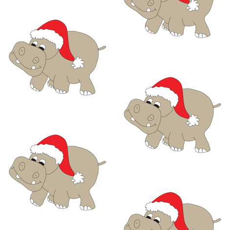 Christmas Hippo White Background fabric by coveredbydesign on Spoonflower - custom fabric