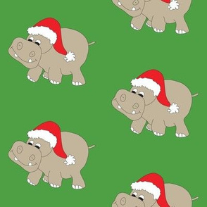 Santa Hippo Green Background