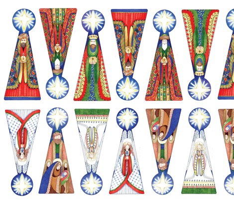 Wisemen Ornaments-primary fabric by leslipepper on Spoonflower - custom fabric