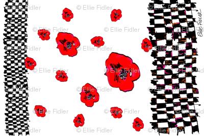 Checks & Red Poppies- TEA TOWEL