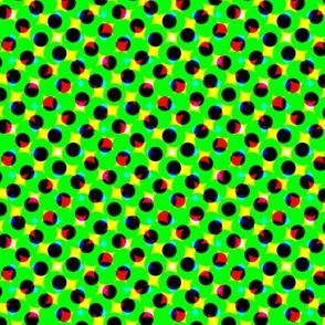CMYK halftone dots-green