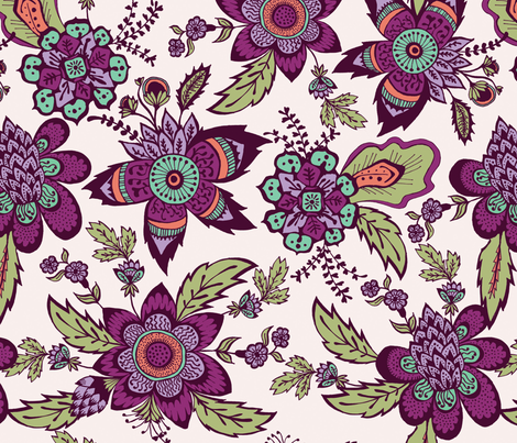Floral Calico fabric by mandakay on Spoonflower - custom fabric