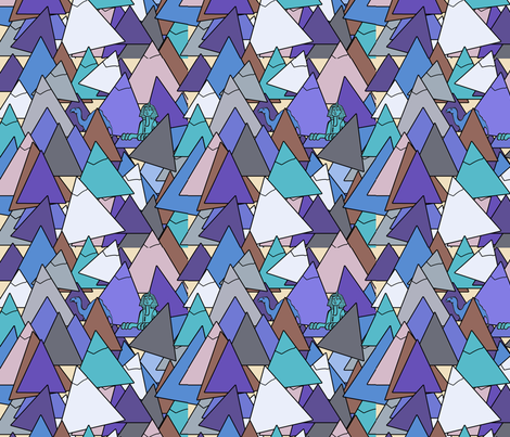 pyramid in blues fabric by cairocraft on Spoonflower - custom fabric