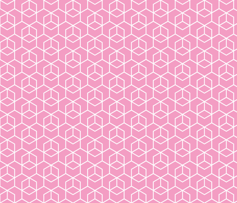 Hexagon Trellis - white on pink fabric by little_fish on Spoonflower - custom fabric