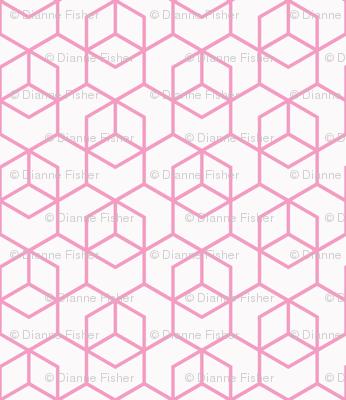 Hexagon Trellis - pink on white