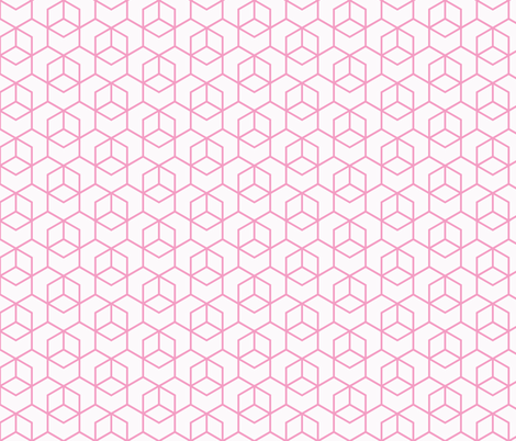 Hexagon Trellis - pink on white fabric by little_fish on Spoonflower - custom fabric