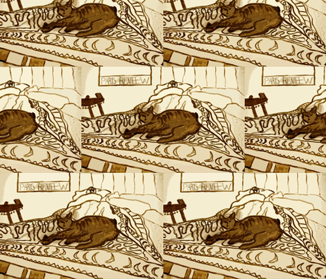 Sprocket and Ed with Paris Review in Sepia Tones fabric by susaninparis on Spoonflower - custom fabric