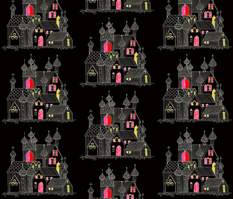 Villages black fabric by randomarticle on Spoonflower - custom fabric