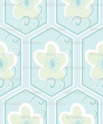 honeycomb cherry - palest blue
