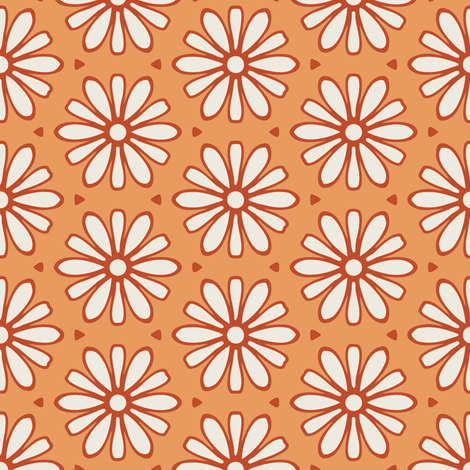 Cream and Rust Daisies on Dark Yellow/Orange fabric by jumeaux on Spoonflower - custom fabric