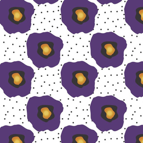Purple Poppies and Dots