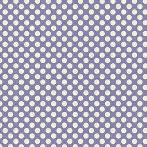 Cream Polka Dots on Dark Blue/Purple