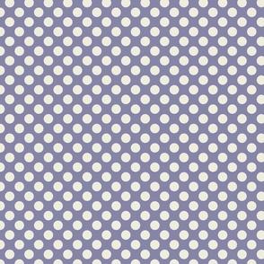 Cream Polka Dots on Dark Blue/Purple