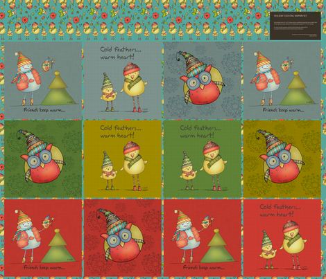 Holidays with friends (fat quarter napkin set) fabric by catru on Spoonflower - custom fabric
