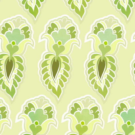 feather - lime fabric by fox&lark on Spoonflower - custom fabric