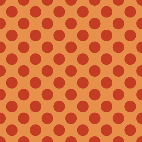Rust Polka Dots on Dark Yellow/ Orange fabric by jumeaux on Spoonflower - custom fabric