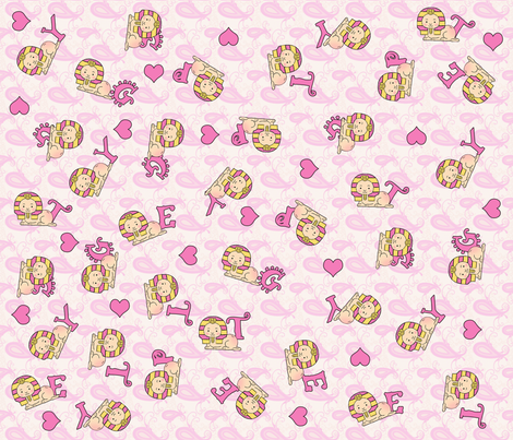 Baby girl sphinx fabric cairocraft spoonflower for Baby girl fabric