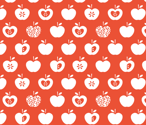 Apple-white fabric by pattern_bakery on Spoonflower - custom fabric