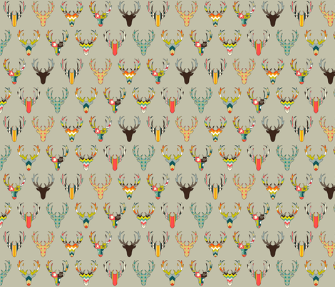 retro deer head stone small fabric by scrummy on Spoonflower - custom fabric