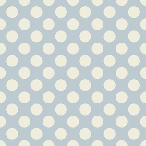 Cream Polka Dots on Light Blue fabric by jumeaux on Spoonflower - custom fabric