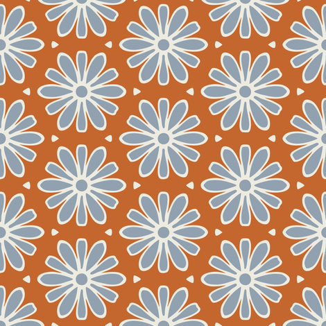 Rusty Blue Daisies fabric by jumeaux on Spoonflower - custom fabric
