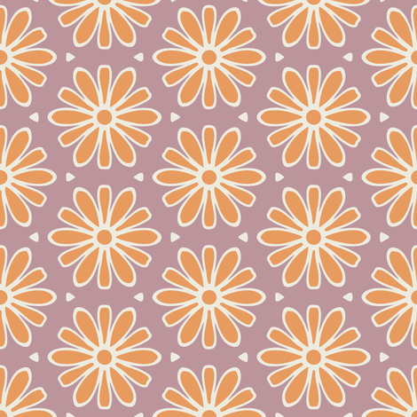 Dark Yellow Daisies on Mauve fabric by jumeaux on Spoonflower - custom fabric